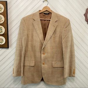Jos A Bank Silk Linen Wool Plaid Blazer